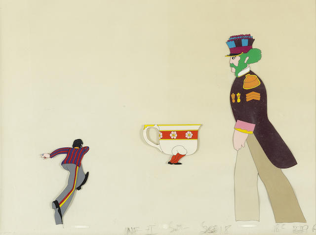 The Beatles: three Yellow Submarine cels of Ringo, Paul and a teacup