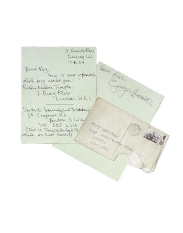 George Harrison: A letter sent to a fan, regarding religion and meditation