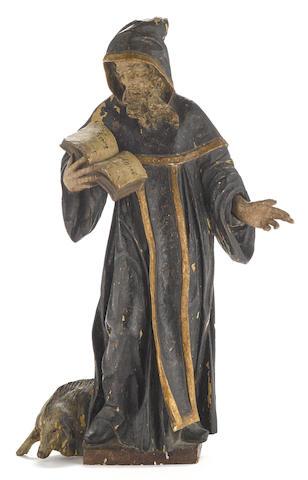 A Northern European Baroque polychrome carved wood figure of Saint Deicolus