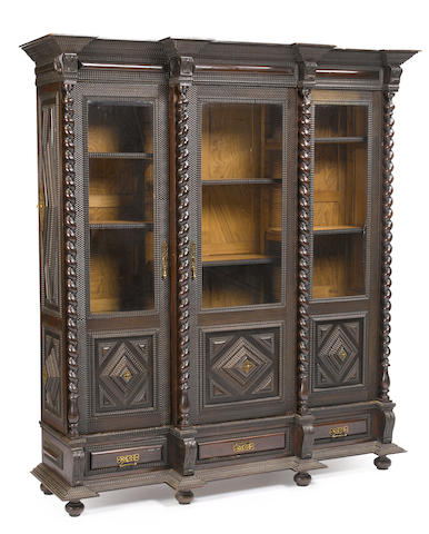 A Portuguese Baroque style brass mounted bookcase