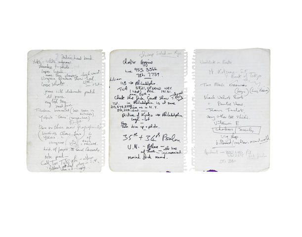 John Lennon: Three handwritten notes in various hands with additions by John Lennon and Yoko Ono