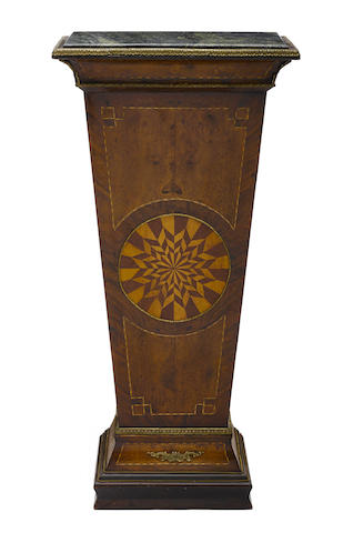 A Continental Neoclassical style inlaid walnut pedestal
