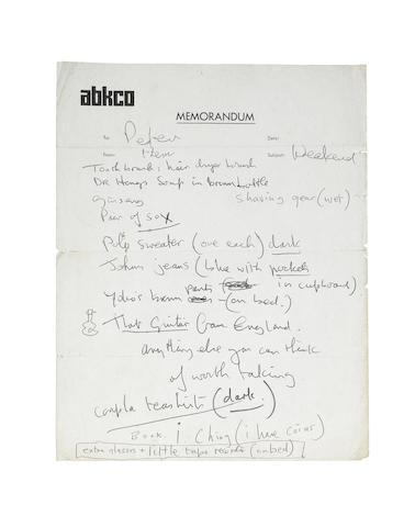 John Lennon: A handwritten memo in John's hand