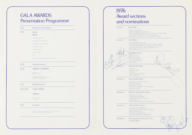 Paul McCartney: A Capitol Radio Music Awards programme signed by Paul McCartney and others
