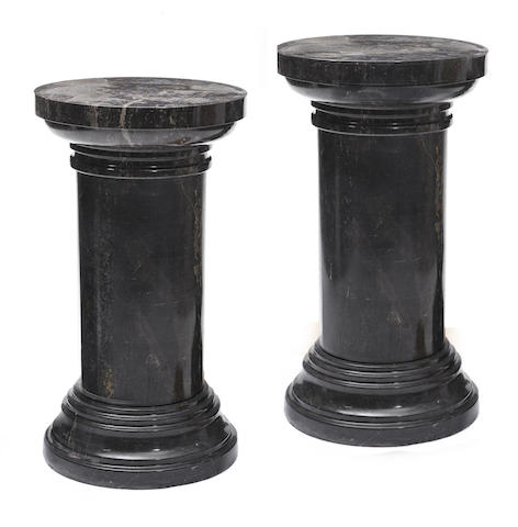 A pair of Neoclassical style marble pedestals