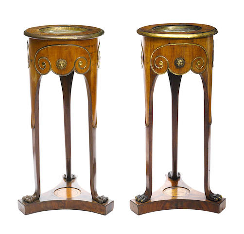 A pair of Neoclassical style gilt metal mounted walnut pedestals