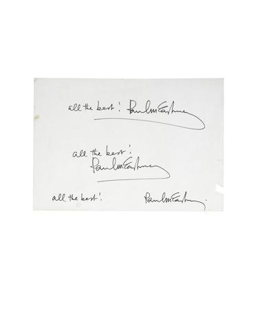 Paul McCartney: A sheet of original artwork autographs and related items