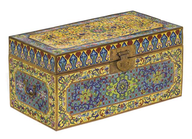A large Canton export cloisonné enamel table box