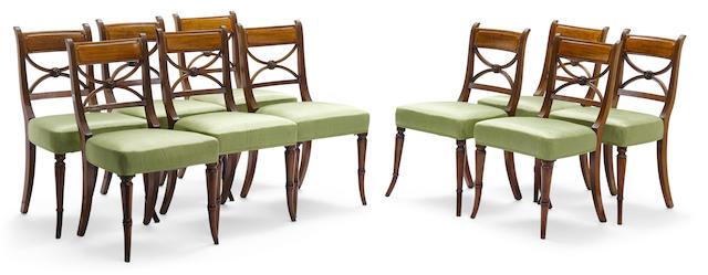 A set of ten Regency mahogany dining chairs