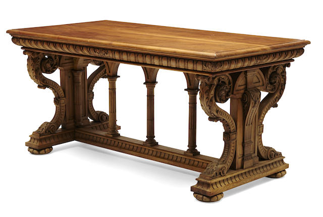 An imposing Renaissance Revival carved walnut center table