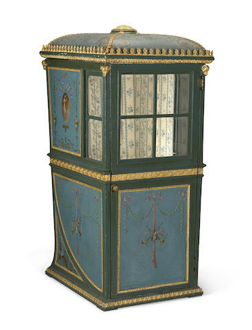 A Neoclassical style parcel gilt and paint decorated sedan chair