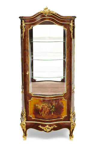 A Louis XV style gilt bronze mounted Vernis Martin decorated kingwood vitrine