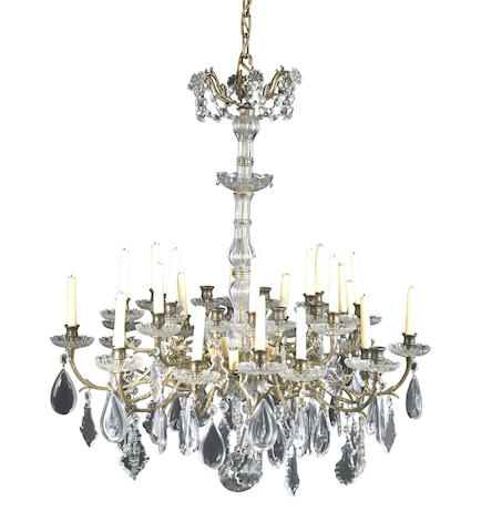 A Rococo style gilt metal, cut and molded glass thirty-two light chandelier