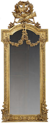 A French carved giltwood and gesso pier mirror