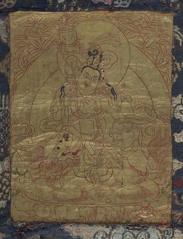 A gold-ground thangka of Vaishravana
