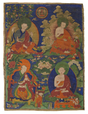 A thangka of four arhats
