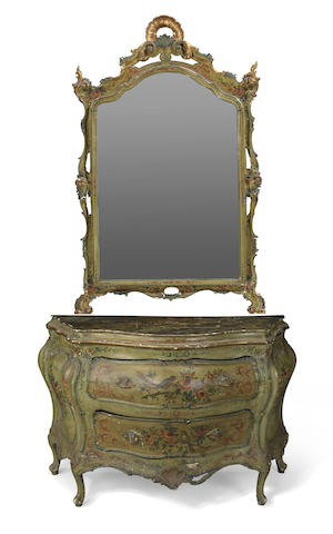 A Venetian Rococo style paint decorated commode and mirror