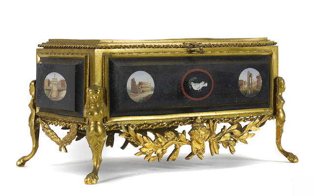 An Italian gilt metal mounted micromosaic table box