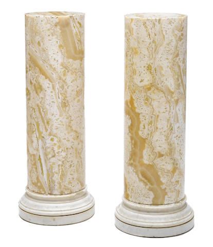 A pair of Neoclassical style onyx and marble pedestals