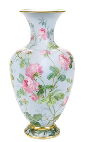 A Baccarat enameled glass floral vase