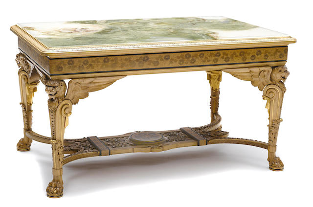 A fine and important American Aesthetic inlaid maple salon table