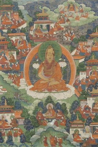 A thangka depicting the life of Tsongkhapa