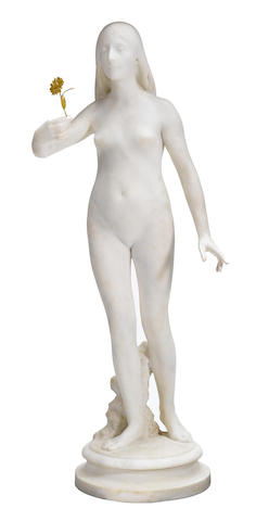 A life size carved marble figure of a standing nude