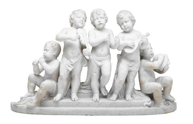 An imposing Italian carved marble figural group