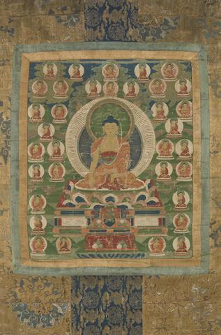 A thangka of Shakyamuni Buddha with the Thirty-Five Confession Buddhas