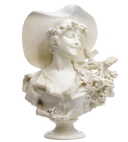 An Italian carved marble bust of a young maiden emblematic of Spring
