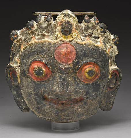 A large polychromed terracotta ritual pot