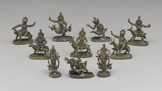 A group of ten copper alloy figures from a sculptural mandala