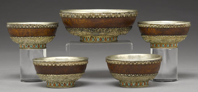 A set of five Tibetan bowls