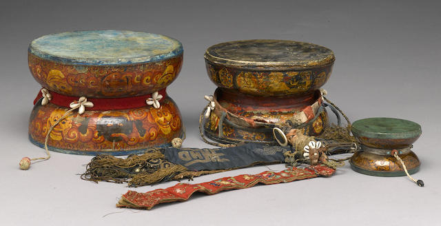 Three painted ritual wood drums