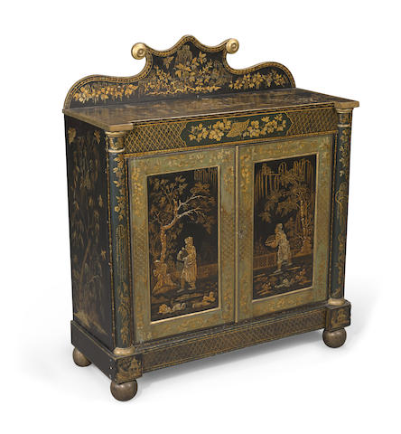 A George IV chinoiserie decorated lacquered side cupboard