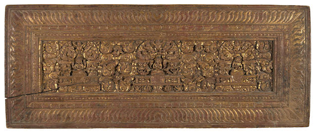 Two lacquered and gold painted wood manuscript covers