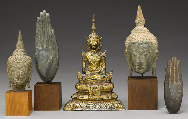 A group of five Thai Buddhist bronzes