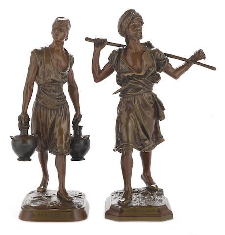 Two French patinated bronze Orientalist figures