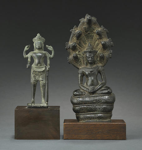 Two Khmer style copper alloy figures