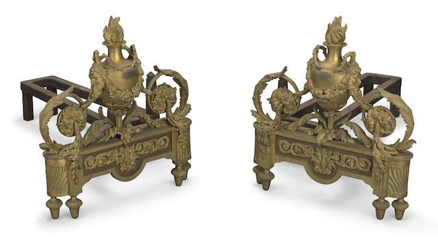 A pair of Louis XVI style gilt bronze chenets Bouhon & Cie, Paris