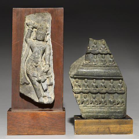 A blackstone stele with Wisdom Buddhas
