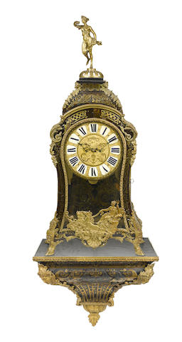 A Louis XV gilt bronze mounted cut brass and tortoiseshell bracket clock