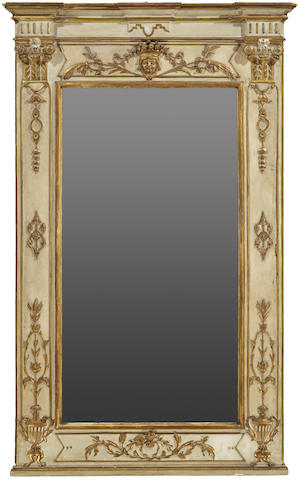 A Continental Neoclassical parcel gilt and paint decorated mirror