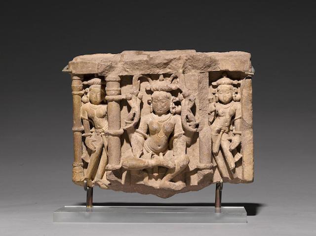 A sandstone figure of Manasa or Padmavati