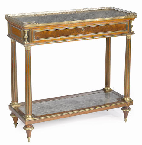 A Louis XVI gilt brass mounted mahogany console desserte