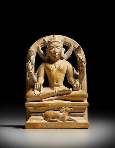 A stone figure of Chandra