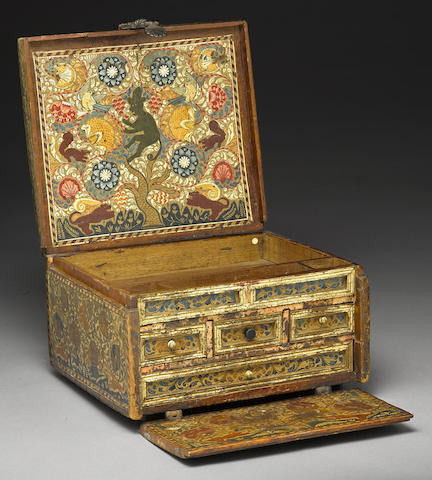 A painted wood fall-front chest