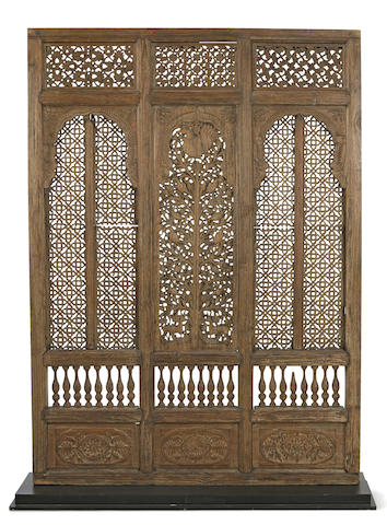 A wood three-section wall panel