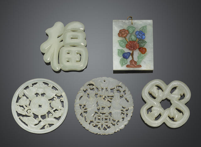 A group of five jade and hardstone plaques