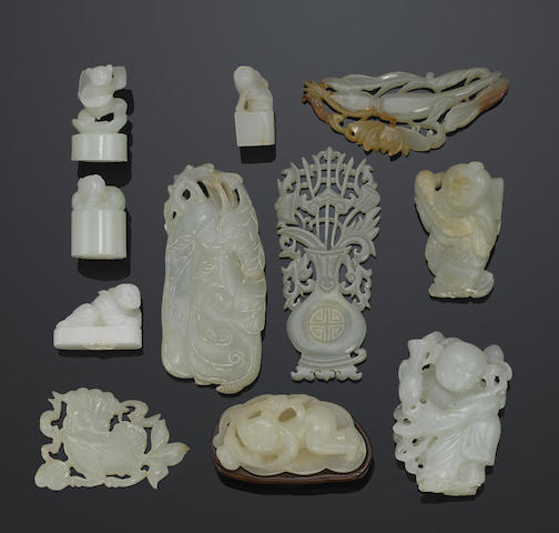 A group of eleven small jade carvings